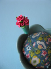 vase of roses pin topper (Pinks & Needles (used to be Gigi & Big Red)) Tags: miniature aqua rustic handpainted vase chic etsy hotpink shabby gigiminor pinksandneedles