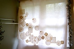 Doily curtain, temporarily pinned (kitkabbit) Tags: white paris vintage diy linen lace sewing curtain chic embroidered doily shabby ecru 2011