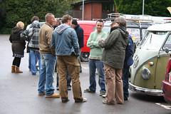 drivers meeting (zombikombi1959) Tags: travel cruise bus vw volkswagen roadtrip devon journey camper convoy campervan magicalmysterytour bulli splitscreen northdevon type2 splitty