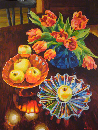 "HMCraig ""Peace in My Home- (Golden Apples and Parrot Tulips)"""