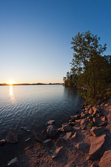 Pitkäjärvi (Antti Tassberg) Tags: sunset summer lake espoo suomi finland europe eu fisheye scandinavia kesä järvi evenfall pitkäjärvi laaksolahti källstrandsviken