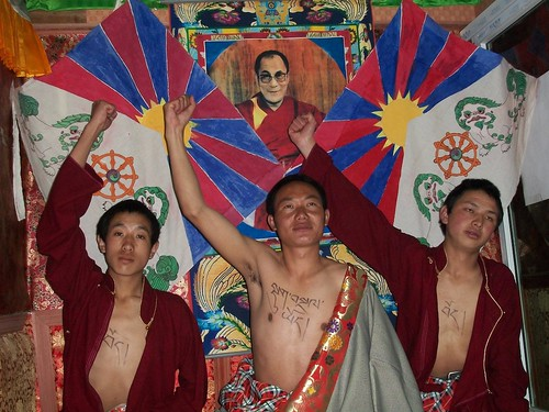 Protest by 3 monks, Ngagrong, Tibet. 2010