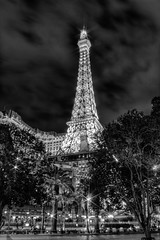 Las Vegas Eiffel Tower B&W HDR (cstout21) Tags: travel chris vacation urban blackandwhite usa gambling night clouds landscape lights hotel us big gloomy view unitedstates lasvegas nevada eiffeltower landmark casino nv lightning lightpost lightposts hdr highdynamicrange stout ngoc parishotelandcasino parisresort blackwhitephotos canonxs stoutandstout northamera