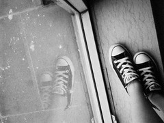 2011/06/18 (Juuuuuuune) Tags: blackandwhite white black film feet girl self shoe young converse teenager chuck allstar