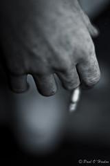 . ((Paulie)) Tags: blackandwhite bw canon eos dof hand bokeh cigarette fingers smoking ashes 500d 50mmf12usm