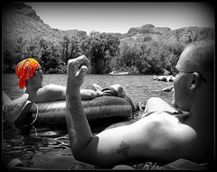 Salt River Tubing (A Richie) Tags: summer vacation arizona blackandwhite water fun desert framed tubes az rafting alcohol frame tubing saltriver selectivecolor maricopacounty arizonaheat nikoncoolpixs520 richiearmola