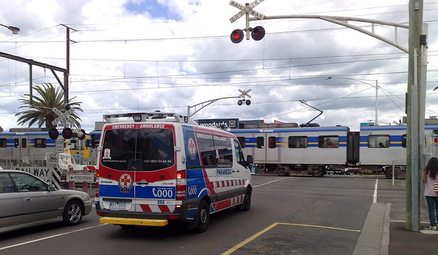 Ambulance stuck at level crossing - another reason for grade separation