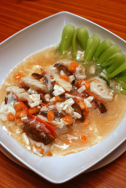 Qi Ling Yu - steamed fillet fish with Chinese mushrooms and carrot