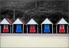 blue and red beach huts (~~Heavenxxx89 Art & Photography~~Busy) Tags: colour beach huts bournemouth selective