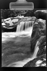 Roaring Fork 4x5 (IsaacMTSU) Tags: park white black mountains film speed river lens landscape waterfall long exposure graphic anniversary tennessee wwii great large fork developer national half shutter second tray plus 4x5 hp5 sheet format f22 12 gatlinburg smoky developed ilford roaring graflex 135mm graphex adorama optar f47