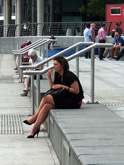 The Lady In Black (marbowd37) Tags: people salfordquays bbc salford quays mediacity