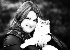 Portrait with cat (photon tamer) Tags: portrait blackandwhite bw woman girl cat softbox strobe strobist portraitwithcat ezybox nikond3 nikonafsnikkor70200mm128gedvrii yongnuoyn622ntx