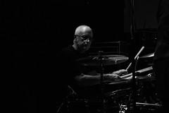 Don't forget the drummer. (Steve.T.) Tags: drummer musician livemusic livegig drumming newcrawdaddybluesclub nikon d7200 sigma18200 bnw availablelight lowlight gig music drumsticks drumkit