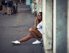 expectation (marco monetti) Tags: fujixe1carlzeissjena50mm18pancolarmc vintageprime obiettivovintage manualfocus messaafuocomanuale urbanexploration esplorazioneurbana beautifulgirl prettygirl bellaragazza youth giovent young giovane street strada