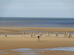 Soldiers being taught how to advance and retreat at Blackpool (j.a.sanderson) Tags: beach training britisharmy soldiers being taught how advance retreat blackpool army soldier running