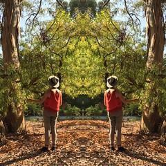 Symmetria (carlo occhiena) Tags: symmetric simmetria double park green trees adventure girl outdoor open air