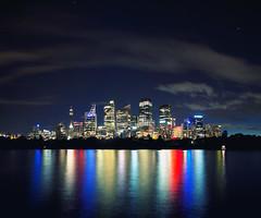 Sydney, NSW, Australia (Leighton Wallis) Tags: city reflection skyline buildings lights cityscape colours nightscape sydney australia nsw renzopiano farmcove centrepointtower