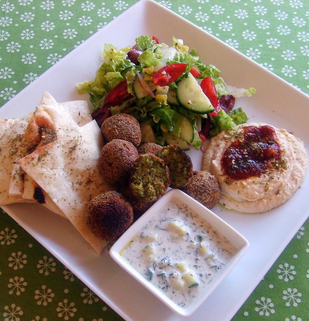 Falafel Plate Middle eastern falafel plate leafy greens and me