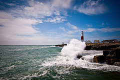 Portland Bill Light House.... (Flipper24.) Tags: uk sea sky lighthouse water coast rocks waves dorset splash sigma1020mm portlandbilllighthouse nikond90