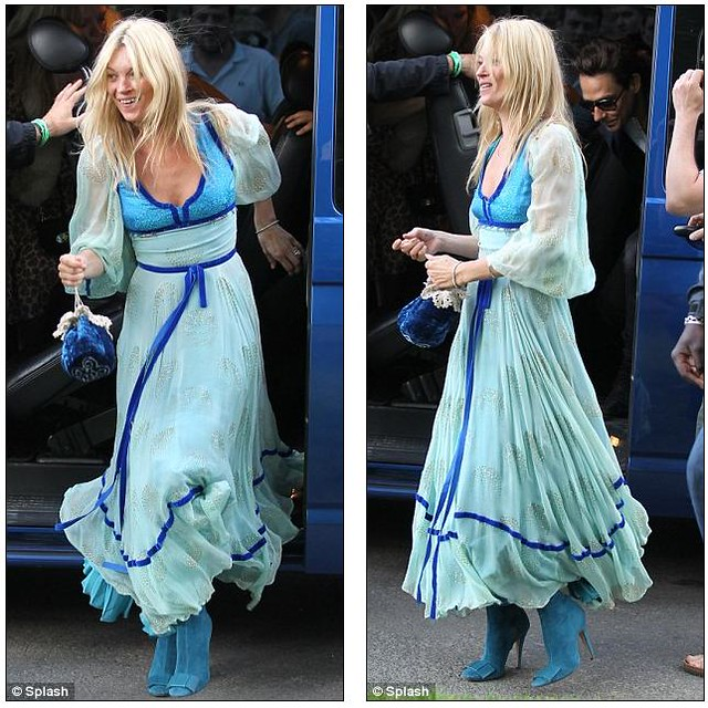 Bride-to-be Kate Moss goes 70s style as she heads to rehearsal dinner with fiancé Jamie Hince  3