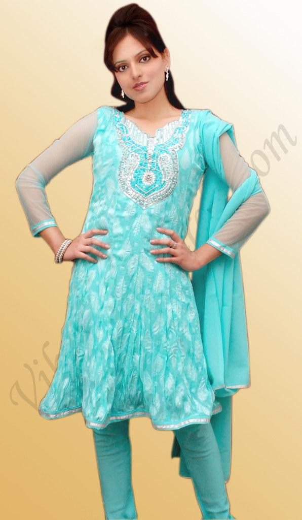Cool Light Blue Viscose Salwar Kameez With Embellishment