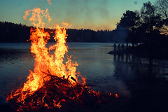 May Day (Elin92) Tags: wood sunset sea lake water night fire evening cool may bonfire valborg eld