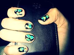 Uñas de flores - Azules (InmaSantiagoA) Tags: original flores rosas uñas azules esmalte