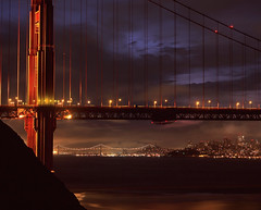 Gotham City Golden Gate Scene (RZ68) Tags: city bridge blue cliff color tower film water skyline clouds sunrise dark t dawn golden see bay kirby gate san francisco cityscape cloudy you cove no marin north battery can velvia hour batman headlands 6x7 gotham provia wagner ggnra e100 rz68