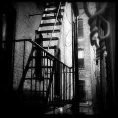 no escape (Manhattan Girl) Tags: nyc bw brick manhattan gritty fireescape chainlinkfence barbedwirefence iphone hipstamatic helgavikinglens blackeyssupergrainfilm