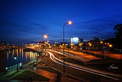 Starry starry night (Mai.Nemesis) Tags: bridge blue light sky sun set night landscape lights nikon ray vietnam saigon hochiminh starrystarrynight d80