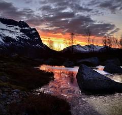 midnight in Grøtfjord (John A.Hemmingsen) Tags: sunset sky sun reflection nature water clouds landscape reflexions troms grøtfjord nikkor1685dx nikond7000