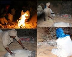 la kessera (overthemoon) Tags: men collage bread four fire baking sand desert tea tunisia quote mosaic picasa feu tunisie tunesien douz breadmaking monod kessera 1j1t