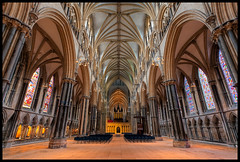 Space for Reflection - Explored (Steve-P2010) Tags: building church architecture worship cathedral space empty stonework mason religion wideangle stainedglass architectural altar organ column 1740 houseofworship lincolncathedral steveprice cathedralinterior qualitystructuresppf