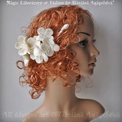 Bridal Comb Fascinator Apple Blossoms Cluster /FOREVER Spring/ Delicate Merino, Silk,Perlized Stamens, 2012, TianaHE (ArtTiana{TianaCHE on Etsy}) Tags: roses hat fashion hair ruffles design spring eyelashes veil purple russia designer handmade feather craft merino romantic wearableart weddings etsy maidofhonor corsage luxury couture derby comb hattie handcraft facebook horseraces royalascot headpiece derbyhat russianart  fascinator twitter       twitpic specialocassion  russianveil tianache coctailfascinator peacocksward russianarf hatsfascinators   royalascothat coquefeathers accessoriescocktail millineryhatveiling