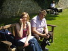 Alfriston with Jeff & Sue - June 2012 - Never Take Your Work Phone With You on Holiday 2 (Gareth1953 All Right Now) Tags: park blue friends portrait people woman beautiful smiling bench happy couple sitting tshirt pale mature sit mobilephone stripey parkbench seated eastsussex maturewoman alfriston paunch middleagedman witha denimjeans eoshe sonydsctx5 jeffsue