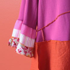sock it to me tunic in fuchsia, orange with some crazy little print action (Secret Lentil) Tags: clothing artist recycled clothes sculpted ecofriendly deconstructed reconstructed secretlentil lagenlook helencarter