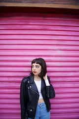 Taylor 25 (rossjordanphotography) Tags: california pink classic girl beauty leather fashion dark intense model punk downtown industrial moody sandiego garage grunge lips jeans jacket redlips rocknroll blackhair hillcrest rjp highwaisted rossjordanphotography