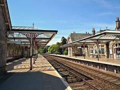 Grange-over-Sands (Squatbetty) Tags: sunshine station platform railway bluesky cumbria grangeoversands