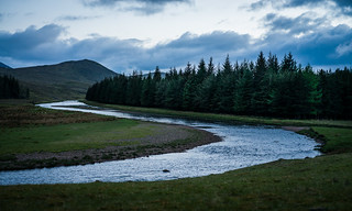 River Spey at dusk near our camp spot