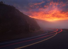 Fleeing Fascination (RZ68) Tags: fog over color sunrise dawn no sunset clouds low high car light trail long exposure conzelman road street marin headlands vista battery spencer san francisco morning rz67 wide angle velvia provia e100 golden gate bridge area ggnra