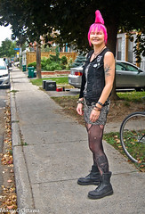 """""""Yes, You Are."""" -  Ottawa 09 16 (Mikey G Ottawa) Tags: mikeygottawa canada ontario ottawa street city people punk style gear tattoo mohawk pink shelly"""