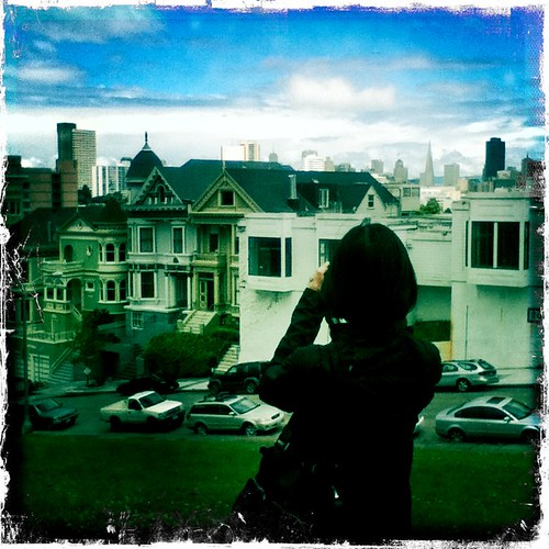 kai takes a hipstamatic pic of tra taking pics of the painted ladies