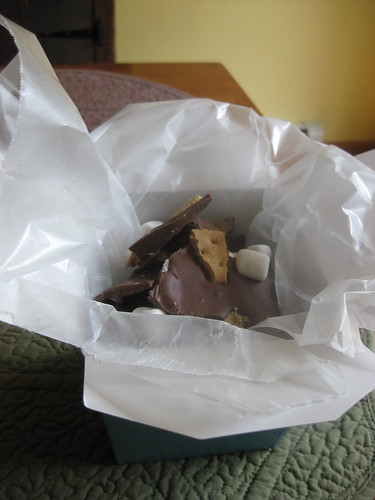 Smore bark in takeout container