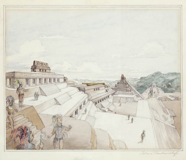 The Acropolis at Piedras Negras.  Pencil and watercolor drawing by Tatiana Proskouriakoff, 1939. Penn Mueum image #176732
