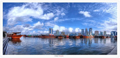 Dubai's Khor (Damon | Photography) Tags: travel sea sky panorama cloud seascape reflection building water clouds buildings landscape boats boat spring nikon dubai pano united uae wide sigma wideangle 360 emirates arab land mm build scape damon 77 hdr hoya clp sigma1020mm d90 nikond90