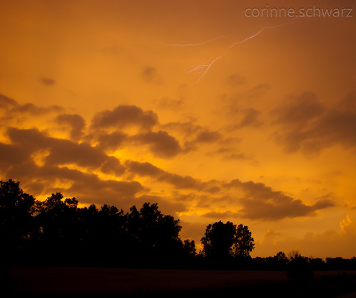 Lightning on Orange by corinne.schwarz