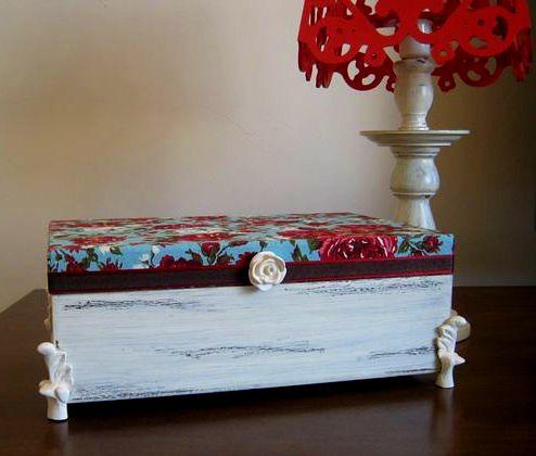Kit provençal - Caixa amor em flor + abajur