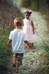 Little boy and girl walking down beach path (Rebecca812) Tags: family boy vacation cute beach girl grass walking children twins sand pretty sister brother path onthemove pinkdress canon5dmarkii rebecca812 heritage2011