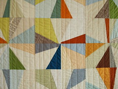 the big orange wall quilt (Spotted Stone Studio {Krista}) Tags: orange wall soft modernquilt quiltingbee liberatedquiltmaking nobinding beeblocks
