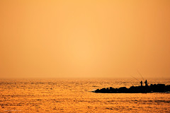 Fishing at Sunset (Kami) Tags: sunset sea fishing taiwan  tainan   2012  anping    nikond700